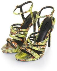 TOPSHOP - Ramona Snake-Effect Strappy Sandals - Lyst