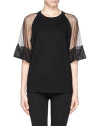 See By Chloé Lace Sleeve Tshirt - Lyst