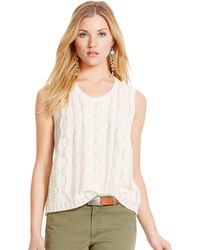 Polo Ralph Lauren Cable-Knit Sleeveless Sweater - Lyst