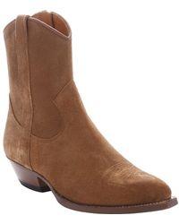 Saint Laurent - Light Brown Suede 'santiag 40' Cowboy Ankle Booties - Lyst
