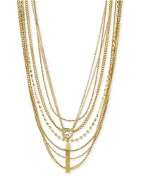 Vince Camuto - Gold-Tone Layered Tassel Necklace - Lyst
