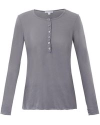 James Perse Long-sleeved Fine-jersey T-shirt - Lyst