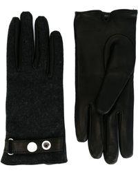 DIESEL Wool And Leather Gloves - Black