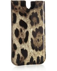 Dolce & Gabbana Leopard-print Patent-leather Iphone 4 Sleeve - Lyst