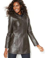 Jones New York Leather Zipfront Jacket - Lyst