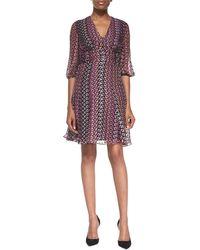 Diane Von Furstenberg Ruch-waist Printed A-line Dress - Lyst