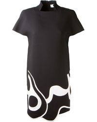Victoria Beckham Black Crepe Dress Embellished with White Geometric Patterns - Lyst