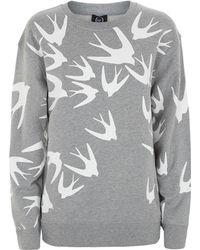 McQ by Alexander McQueen Swallow Print Sweatshirt gray - Lyst