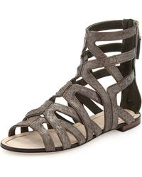 B By Brian Atwood Snakeembossed Leather Gladiator - Lyst