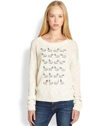 Pjk Patterson J. Kincaid Cat-Print Cotton Slub Sweater - White
