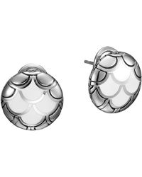 John Hardy Naga Silver Button Earrings with White Enamel - Lyst