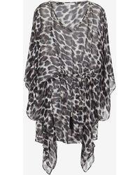Marie France Van Damme Silk Print Bejeweled Short Caftan - Grey