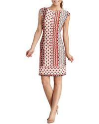 Donna Morgan Scalloped Stripe Shift Dress - Lyst