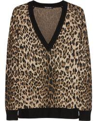 Balmain Leopard-Intarsia Stretch-Knit Sweater - Lyst