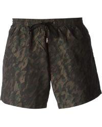 Giorgio Armani - Camouflage-Print Swim Shorts - Lyst