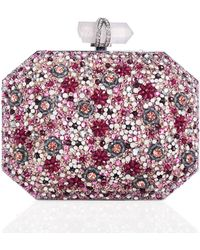 Marchesa Iris Beaded Box Clutch Bag pink - Lyst