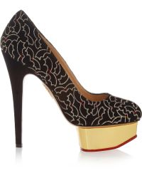 Charlotte Olympia Midnight Dolly Bat-embroidered Suede Platform Pumps - Lyst