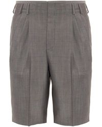 Balenciaga Micro-Check Tailored Wool-Blend Shorts - Lyst
