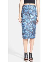 June & Hudson - Print Faux Suede Tube Skirt - Lyst