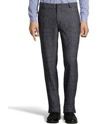 Fendi Grey and Black Cotton Blend Flat Front Pants - Lyst