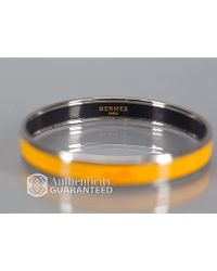 Hermes Pre-owned Yellow Enamel Silver Logos Pm Bangle - Lyst