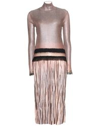 Ferragamo Metallic Crepe Dress - Lyst