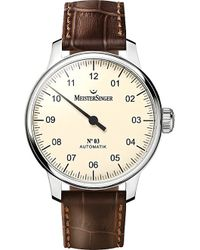 Meistersinger Am903 No.03 Stainless Steel And Leather Watch - Brown