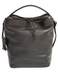 Burberry Brit 'Medium Susanna' Leather & Canvas Check Hobo Bag black - Lyst