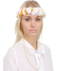 Francesco Ballestrazzi - Lace Flowers Crown with Gold Chain - Lyst