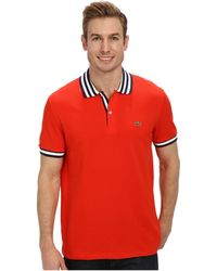 Lacoste Ss Stripe Inset Pique Polo - Lyst