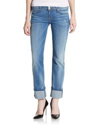 Hudson Ginny Cuffed Cropped Straight Leg Jeans - Lyst