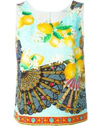 Dolce & Gabbana Fan & Lemon Print Tank Top - Lyst