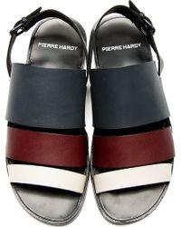 Pierre Hardy - Grey Burgundy and Cream Slingback Sandals - Lyst