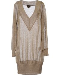 Vivienne Westwood Anglomania Long Sleeve V-Neckline Khaki Short Dress khaki - Lyst