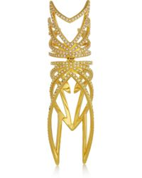 Eddie Borgo Winged Hinge Goldplated Cubic Zirconia Ring - Metallic