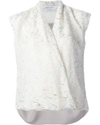 Prabal Gurung Embroidered Wrap Blouse - Lyst