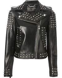 Versace Embellished Calf Leather Jacket - Lyst