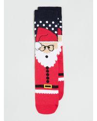 Topman Red Christmas Santa Sock - Lyst