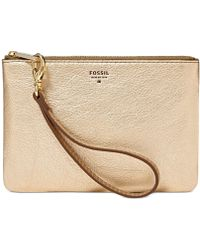 Fossil Sydney Leather Small Wristlet Pouch gold - Lyst