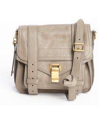 Proenza Schouler Smoky Grey Leather Ps1 Pouch Buckle Strap Shoulder Bag - Lyst