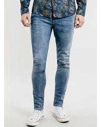 Topman Mid Wash Blue Stretch Skinny Jeans - Lyst