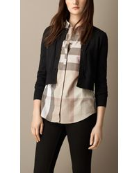 Burberry Cropped Cotton Cardigan - Lyst
