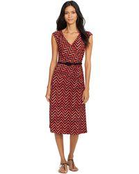 Lauren by Ralph Lauren Belted Chevron Dress - Lyst