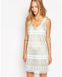 Greylin Lace Overlay Sleeveless Shift Dress - White