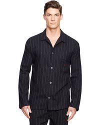 Polo Ralph Lauren Pinstriped Flannel Sleep Shirt - Black