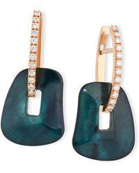 Mattioli - Puzzle Diamond-trimmed 18k Rose Hoop Earrings - Lyst