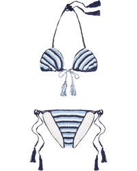 Anna Kosturova Striped Crocheted Cotton Triangle Bikini - Lyst