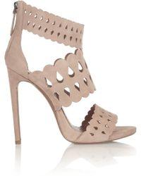 Alaïa Cutout Suede Sandals - Lyst