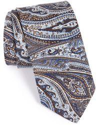 Maker & Company Paisley Cotton & Silk Tie - Blue