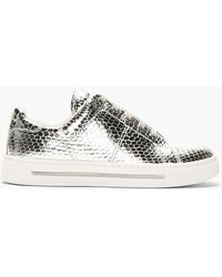 Marc By Marc Jacobs Silver Leather Scale Embossed Sneakers - Metallic